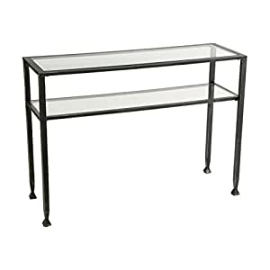 Southern Enterprises Sofa Console Table, Black with Silver Distressed Finish