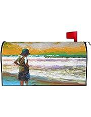 IOAOAI Mailbox Covers Magnetic Post Box Protector for Outdoor Garden Home DÃcorBeach Ocean Shoreline Waves Sunset