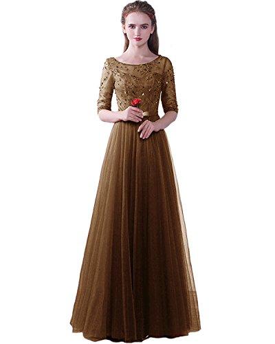 Lang Tüll Damen für ED1716 mit LuckyShe Hochzeit Festkleider Elegant Ärmeln Spitze Braun Abendkleider 1w5A44UFq