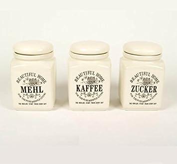 Vorratsdosen Mehl Zucker Salz vorratsdosen kaffee mehl zucker 3er set amazon de küche haushalt