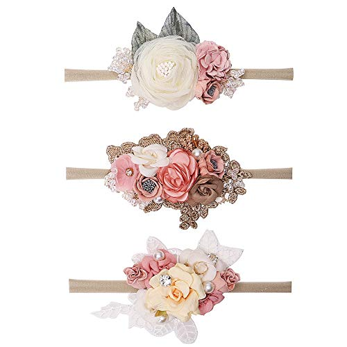 Baby Floral Bling Headband Nylon Turban Elastic Head Wraps For Newborn Infant Toddler Girls Pack Of 3