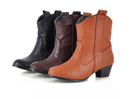 Botas vestir Eu corte 5cm de de velvet de 43 punta zapatos Martin Mujeres de Heel Chunkly Tamaño plus Botas Yellow Onfly puro vaquero zapatos Chelsea 32 Toe color 4 botas qBRgywA6