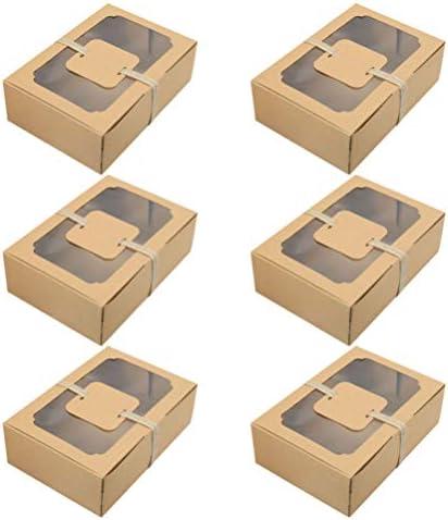 ABOOFAN 6Pcs Cake Venster Doos Bruin Cupcakes Display Container Macaron Koekje Bakkerij Verpakking Wikkelen Dozen Met Kaarten En Touw Voor Birthday Party Wedding Favor Geven Box Set