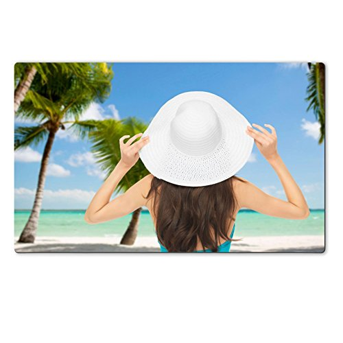 MSD Natural Rubber Large Table Mat IMAGE 26694967 summer and vacation concept woman sitting in swimsuit with hat