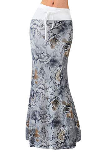 Novia's Choice Women Floral Print High Waist Stretch Maxi Skirt Long Beach Skirt with Drawstring(Grey Flower (Drawstring Print Skirt)