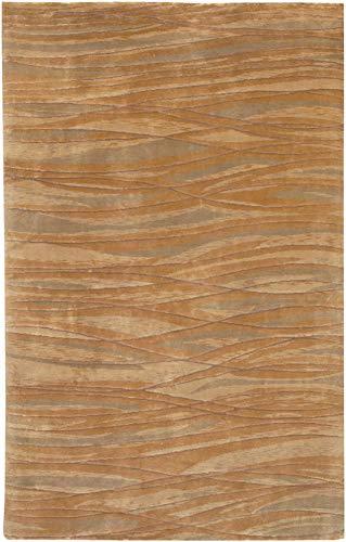 Evesham Handmade Updated Bohemian 4' x 6' Rectangle Modern 100% Semi-Worsted New Zealand Wool Denim/Taupe/Khaki/Ivory/Camel Area Rug