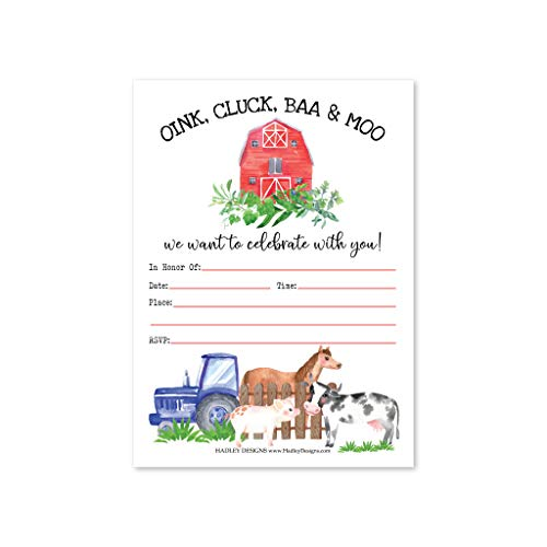 Hadley Designs 25 Watercolor Farm Barnyard Birthday Party Invitations, Animal Pig Cow for Girl Boy, Tractor Barn Country Rodeo Ranch Kid Invites, Western Horse Pony Cowgirl Cowboy, Printable Template