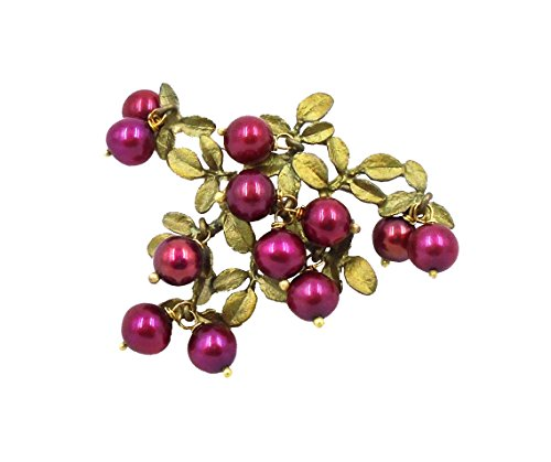 Michael Michaud Cranberry Pearl & Green Bronze Leaf Pin/brooch By for Silver Seaons
