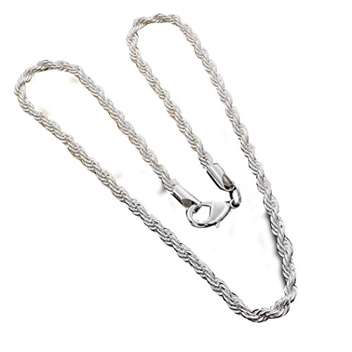 Necklace, Hatop Fashion 4MM sterling silver Chain Men Necklace 16-24 inch (A)