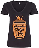 Threadrock Women's Pumpkin Spice Life V-neck T-shirt