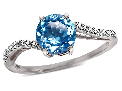 (Star K Round 7mm Blue Topaz Bypass engagement promise solitaire ring 10 kt White Gold Size 8)