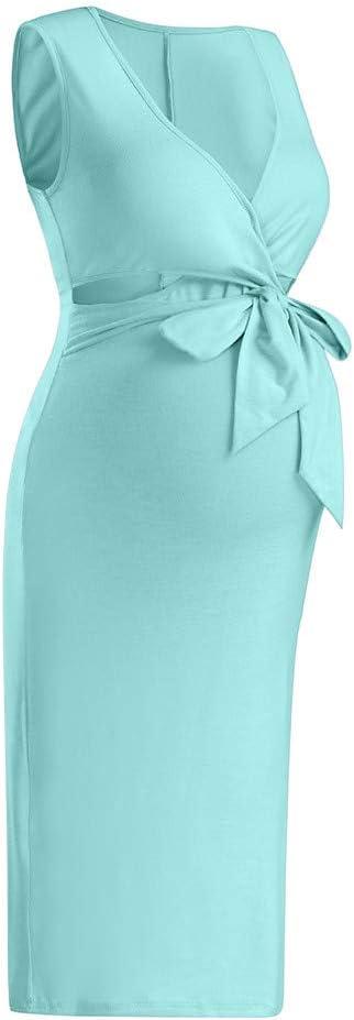 Iusun Womens Maternity Dress Sleeveless Solid Color Casual Summer Sundress Nursing Breastfeeding Pregnants Daily Vacation Holiday