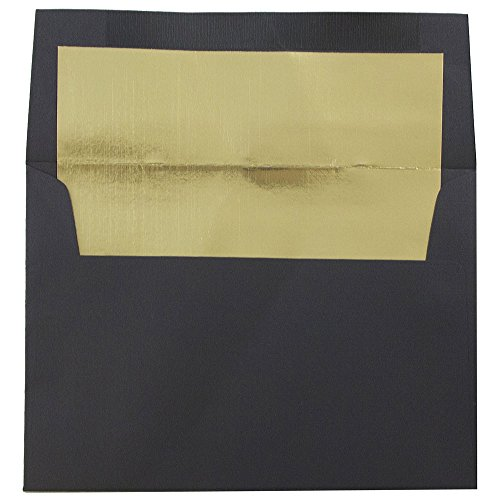 Black Lined Envelope - JAM Paper A6 Foil Lined Envelopes - 4 3/4 x 6 1/2 - Black Linen with Gold Foil Lining - 50/pack
