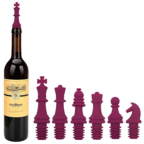 Kidac Wine Stoppers Novelty Chess Wine Bottle Stopper Set Reusable Silicone Caps Beer Sealer Cover for Wine Beer Champange Alcohol Sparkling Wine (Set of 6 Fushia)