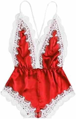 Lingerie THENLIAN Women Sissy Women Sexy Lingerie Girl V-Neck Lace Splice  Bodysuit Sleepwear e54c828ea