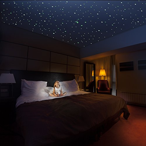 Nxa Inc  Glow Stars And Moon Mega Pack   1 102 3D Glowing Decals For Ceiling And Rooms   Turn Your Bedroom Into A Magnificent Galaxy