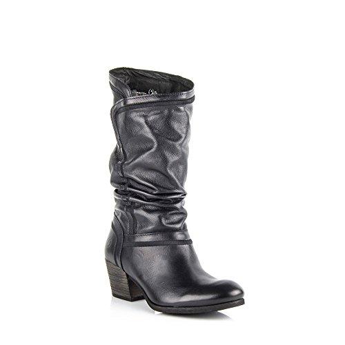 Felmini - Chaussures Femme - Tomber en amour avec Bronx 8472 - Bottes Hautes Classiques - Cuir Véritable - Noir - EU:
