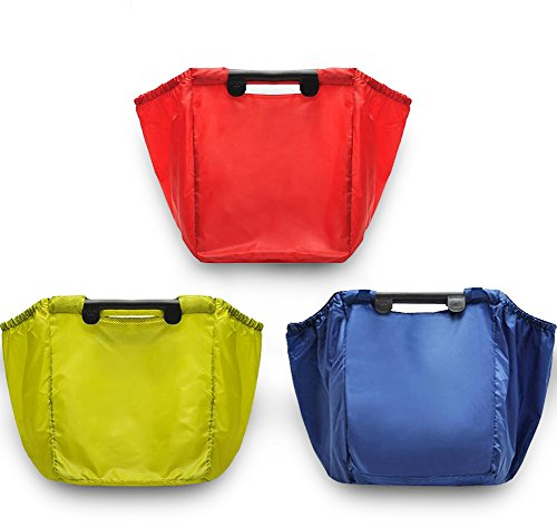 Finex - Set of 3 - Trolley Bag for Shopping Cart - Foldable Reusable Recycling Shopping Grocery Bag Random Color Recycle Bags Set