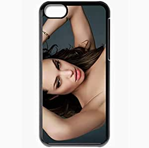 Personalized iPhone 5C Cell phone Case/Cover Skin Angelina jolie tatoo face Actress Black