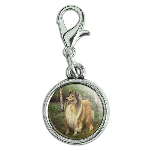 GRAPHICS & MORE Collie Dog in The Woods Antiqued Bracelet Pendant Zipper Pull Charm with Lobster Clasp