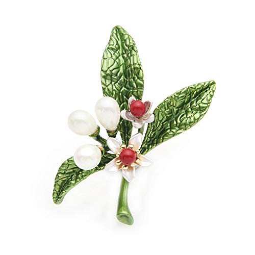 - AMBER DAVIDSON Orange Blossom Flower Enamel Brooches for Women and Men Year's Gifts