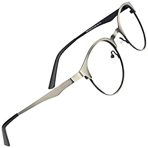 TIJN New Round Designer Metal Eyeglasses Frames with Clear Lens (retro silver, Transparent)