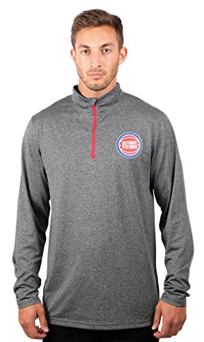 - NBA Detroit Pistons Men's Quarter Zip Pullover Shirt Athletic Quick Dry Tee, Large, Charcoal