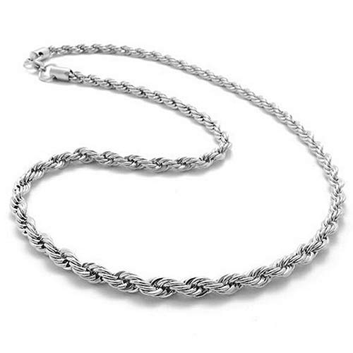 (Acamifashion Women's Men's 925 Sterling Silver Twist Chain Necklace Charm Fashion Jewelry Anniversary Birthday Wedding Gifts for Women Ladies Girlfriend Sister 18'')