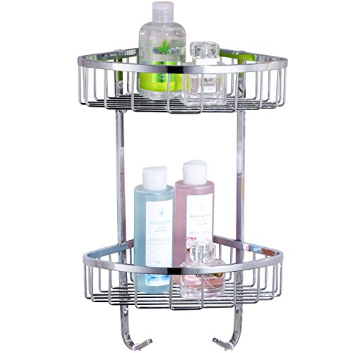 CVBAB Triangle Double Tier Stainless Steel Shower Corner Shelf With Hooks,Wall Mount,Chrome ()