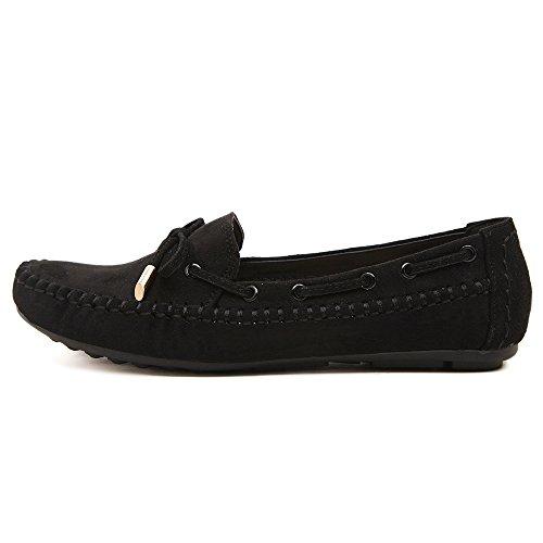 Sunrolan Femmes Daim Cuir Confort Bowknot Slip-on Flats Mocassins Chaussures De Conduite Noir