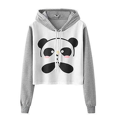 Rambling Women's Teen Girl's Cute Cartoon Panda Fashion Hoodie Crop Top Sweatshirt