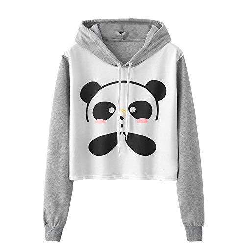 - Annhoo Fashion Women Hoodies Womens Long Sleeve Hooded Cartoon Panda Printing Caps Drawstring Sweatshirt Girl Blouse Tops(L,Gray)