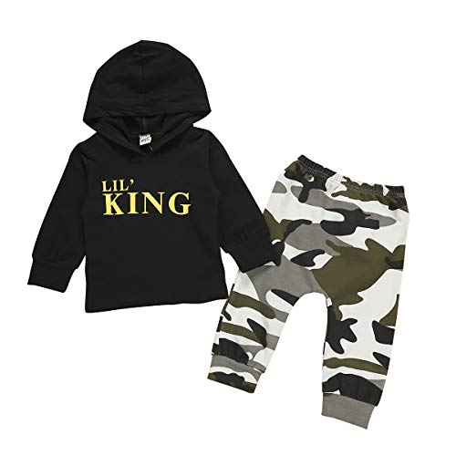 Toddler Kids Baby Boys Clothes Long Sleeve Lil' King Hoodie Top + Camouflage Pants Sweatsuit Fall Outfit Set (Black, 18-24 M) (La Kings Clothing)