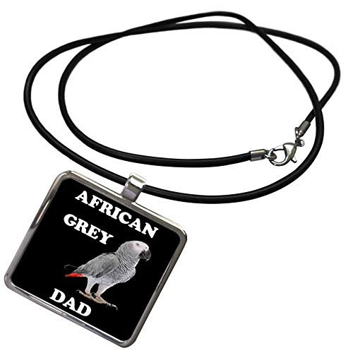 3dRose Sven Herkenrath Animal - African Grey Dad Cute Parrot On Black Background - Necklace With Rectangle Pendant (ncl_288309_1)]()