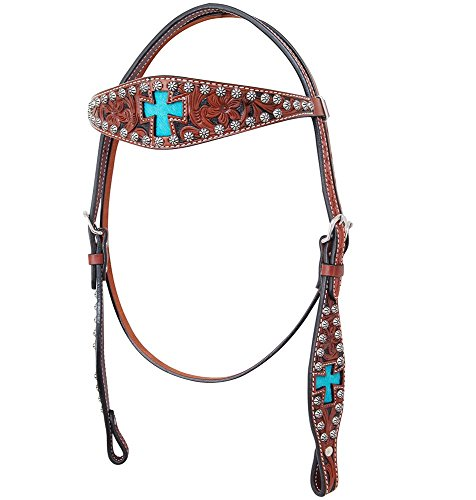 Bar H Equine Inlay Cross Browband Headstall Turquoise ()