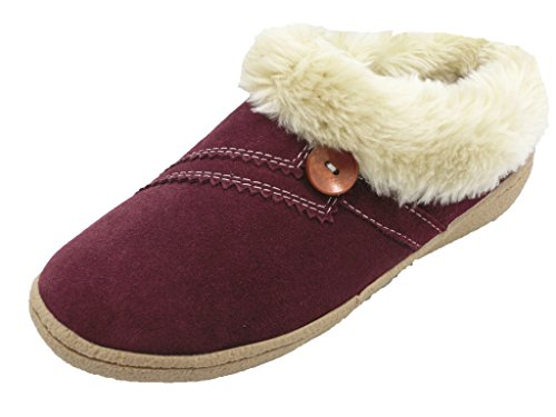 U&U Women's Burgundy Faux Fur Fleece Lined Slipper Bootie...