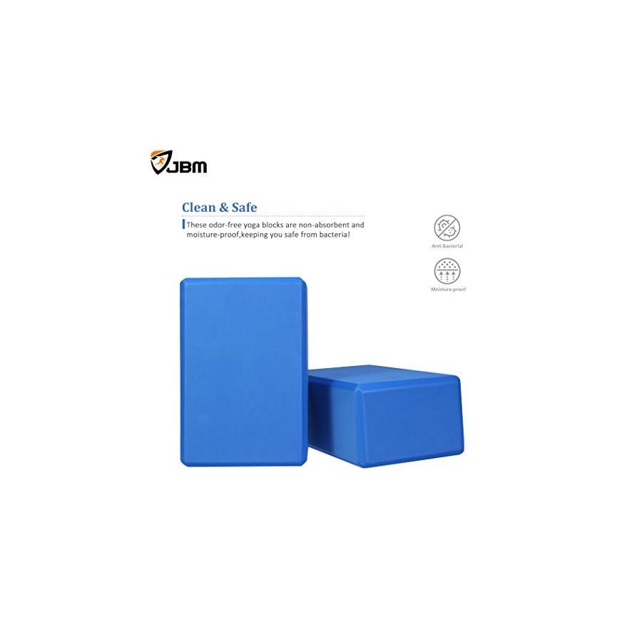 JBM Yoga Block Plus Strap with Metal D Ring Yoga Brick Cork Yoga Block 6 Colors High Density EVA Foam Yoga Block to Support and Deepen Poses, Lightweight, Odor Resistant