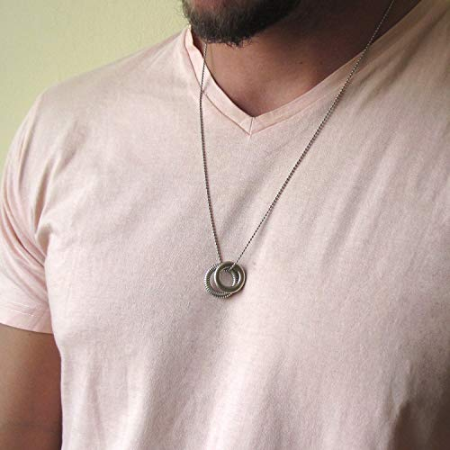 - Mens Karma Ball Chain Necklace, Mens Necklace, Circle Necklace, Mens Jewelry, Ring Necklace, Length : 24