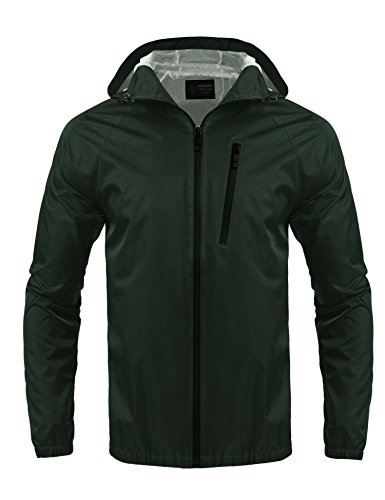 COOFANDY Men's Waterproof Rain Jacket Outdoor Packable Hooded Raincoat (XX-Large (US X-Large), Oliver Green)