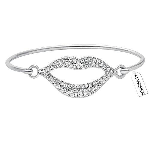 MANZHEN Easy Open Delicate Clear Full Rhinestone Lip Hook Bangle Bracelet for Women (Silver)