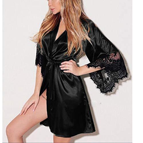 Seta Notte Lingerie Bagno Da Da Nero Babydoll Di Sexy Sexy Robe Lingerie Cintura Dressing Lace Kimono Donna qXdR7PwZ
