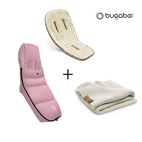 Bugaboo Winter Accessories Bundle: Wool Seat Liner, Off White Wool Blanket and Soft Pink High Perfor