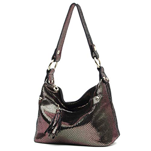 Embossed H bags Shiny Genuine Leather Hobos Tote Bags Bronze (Hobo Embossed Alligator Handbag)