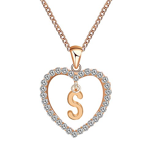 Voberry- 26 Alphabet English Letters Crystal First Initial NAM Necklace Love Heart Pendant Necklace Choker for Women Girlfriend Best Friends, Birthday Anniversary for Her (S)