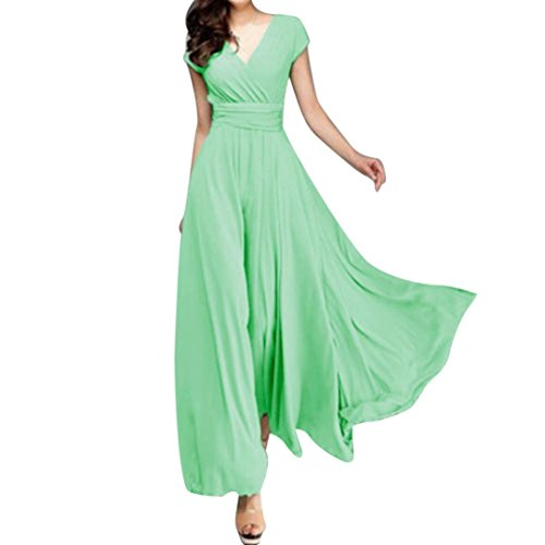 Kangma Fashion Women Casual Solid Chiffon V-Neck Evening Party Loose Ankle-Length Long Dress (0/2, Mint_Green)