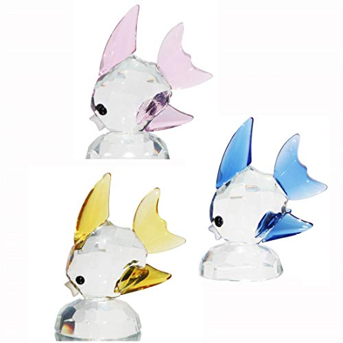 HANUR Crystal Tropical Fish Figurine Clear Nice Festival Gift Ornament Home Decoration Collection (3 Items of a Set)