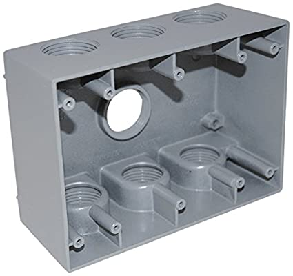 Topaz Electric WB3750 7 Hole Triple Gang WP Box, Grey