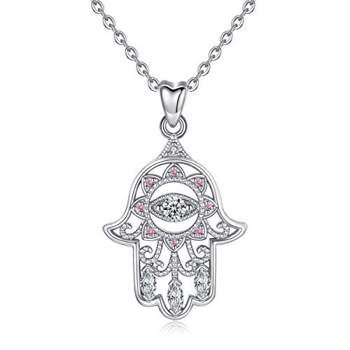 EUDORA Sterling Silver Hamsa Hand of Fatima with Evil Eye Amulet Good Lucky Necklace, Gift for Women, 18