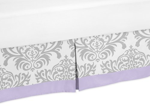 Sweet Jojo Designs Lavender, Gray and White Damask Print Elizabeth Bed Skirt for Girl Toddler Bedding Sets