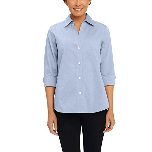 Foxcroft NYC Womens Pinpoint Oxford Shirt Non-Iron Stretch Poplin Blouse (Large, Blue Wave) - Poplin 3/4 Sleeve Shirt